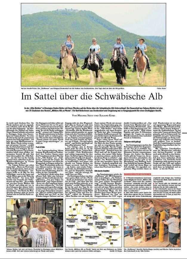 Wieder eine tolle Werbung für unseren Verein in der Esslinger Zeitung!